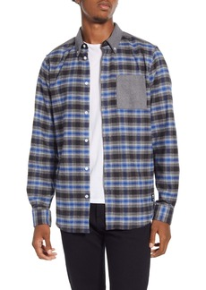 WeSC Olvai Regular Fit Shadow Plaid Button-Down Flannel Shirt