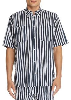 WeSC Short-Sleeve Striped Regular Fit Button-Down Shirt