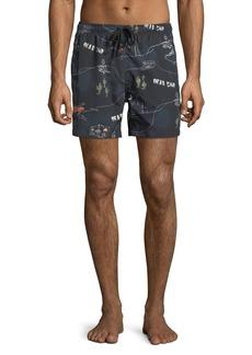 WESC Zack Dead End Printed Swim Shorts