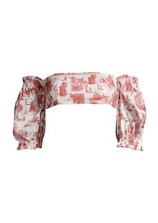 WeWoreWhat Coco Pastoral-Print Puff-Sleeve Bikini Top