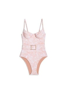WeWoreWhat Danielle Printed Belted One-Piece Swimsuit