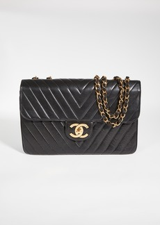 What Goes Around Comes Around Chanel Black Lambskin Chevron Flap Maxi Bag