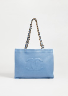What Goes Around Comes Around Chanel Blue Flat Chain Tote Bag