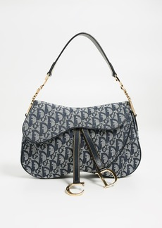 What Goes Around Comes Around Dior Navy Canvas Double Saddle Bag