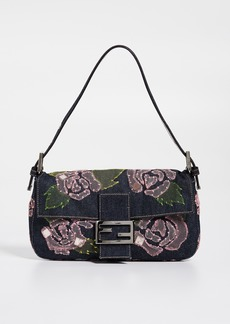 What Goes Around Comes Around Fendi Embroidered Denim Baguette