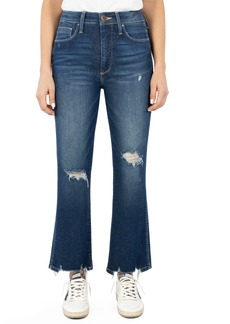 Whetherly Charlie High Waist Distressed Kick Flare Jeans (Dark Rome)