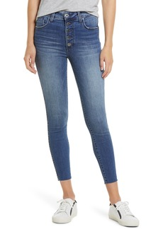 Whetherly Cooper Exposed Button Fly Crop Skinny Jeans (Med Tummel)