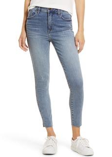 Whetherly Cooper High Waist Raw Hem Crop Skinny Jeans (Med Napels)