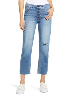 Whetherly Pierce Distressed High Waist Crop Straight Leg Jeans (Med Limousin)