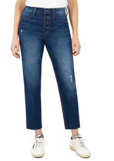 Whetherly Pierce High Waist Straight Leg Raw Hem Ankle Jeans (Dark Florence)