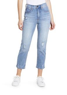 Whetherly Women's Pierce Ripped High Waist Crop Straight Leg Jeans (Genova)