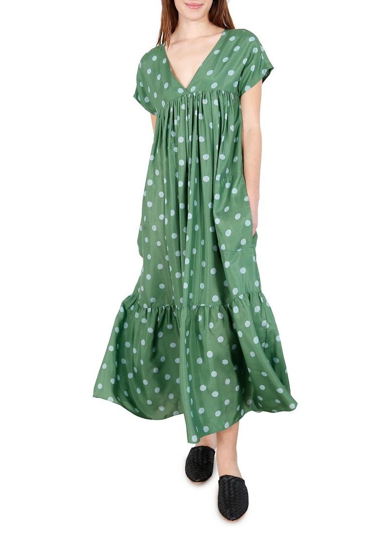 WHIT Gillian Polka Dot Short-Sleeve Maxi Dress