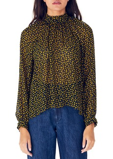 WHIT Harper Printed Mock-Neck Long-Sleeve Silk Blouse
