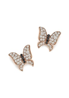 White and Black Diamond Butterfly Stud Earrings in 14K Rose Gold