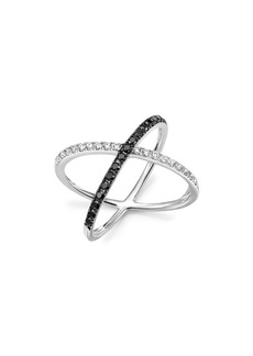 White and Black Diamond Crossover Ring in 14K White Gold - 100% Exclusive