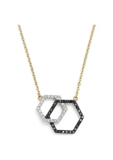 "White and Black Diamond Geometric Pendant Necklace in 14K Yellow Gold, 17"" - 100% Exclusive"