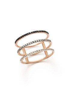 White and Black Diamond Micro Pav� Three-Row Band in 14K Rose Gold - 100% Exclusive