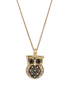 "White and Brown Diamond Owl Pendant Necklace in 14K Yellow Gold, 16"" - 100% Exclusive"