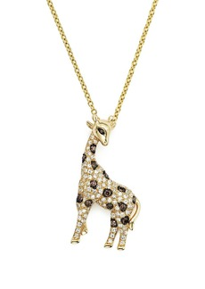 "White, Brown and Black Diamond Giraffe Pendant Necklace in 14K Yellow Gold, 18"" - 100% Exclusive"