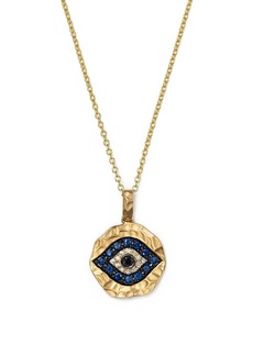 White Diamond, Black Diamond and Sapphire Evil Eye Pendant Necklace in 12K Yellow Gold, 18""