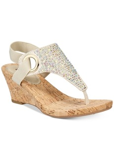 White Mountain Aldon Thong Embellished Wedge Sandals Women's Shoes