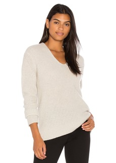 White + Warren Plush Rib V Neck Sweater