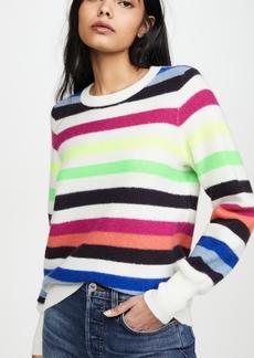 White + Warren Bold Stripe Cashmere Sweatshirt