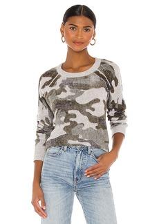 White + Warren Camo Thermal Sweatshirt