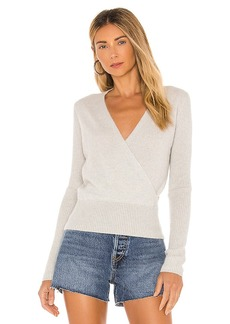 White + Warren Cashmere Ribbed Sleeve Wrap Sweater