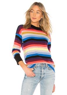 White + Warren Multicolor Stripe Sweater