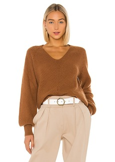 White + Warren Cashmere Puff Sleeve Ribbed V Neck