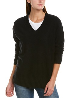 White + Warren Ribbed Cashmere V-Neck Sweater