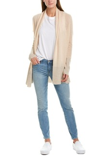 White + Warren Ribbed Trim Cashmere Cardigan