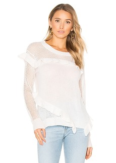 White + Warren Ruffle Crew Neck Sweater in White. - size L (also in M,S,XS)