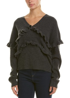 White + Warren Ruffle Trim Cashmere Sweater