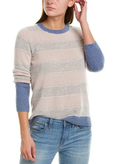White + Warren Stitchy Cashmere Crew Sweater