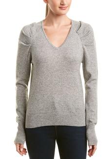White + Warren Wool & Cashmere-Blend Pleat Sleeve Pullover