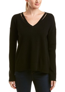 White + Warren Wool & Cashmere-Blend Split Neck Pullover