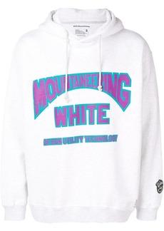 White Mountaineering logo print drawstring hoodie