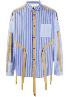 White Mountaineering striped tassel-detail shirt