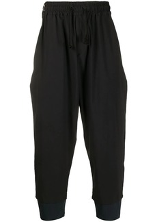 White Mountaineering two-tone drop-crotch sarouel trousers