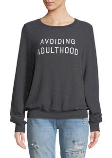 Wildfox Avoiding Adulthood Graphic Crewneck Sweatshirt Top