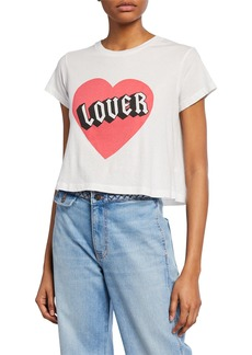Wildfox Baby Lover Graphic Short-Sleeve Cropped Jersey Cotton Tee