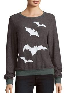 Wildfox Bat Print Long Sleeve Pullover