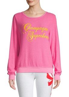 Wildfox Champagne Superhero Graphic Pullover