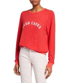 Wildfox Club Carbs Crewneck Long-Sleeve Vintage Sweatshirt