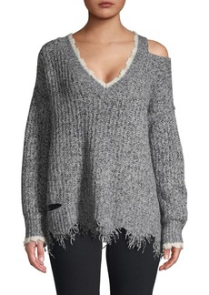 Wildfox Echo Distressed Cold-Shoulder Pullover