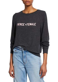 Wildfox Fierce Female Long-Sleeve Stretch-Knit Sweatshirt