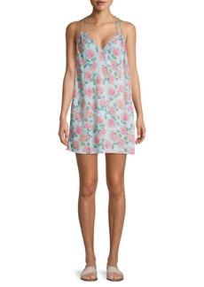 Wildfox Floral-Print V-Neck Mini Dress