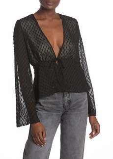 Wildfox Front Tie Textured Blouse